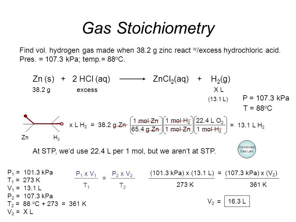 Zn (s) + 2 HCl (aq) ZnCl2(aq) + H2(g)