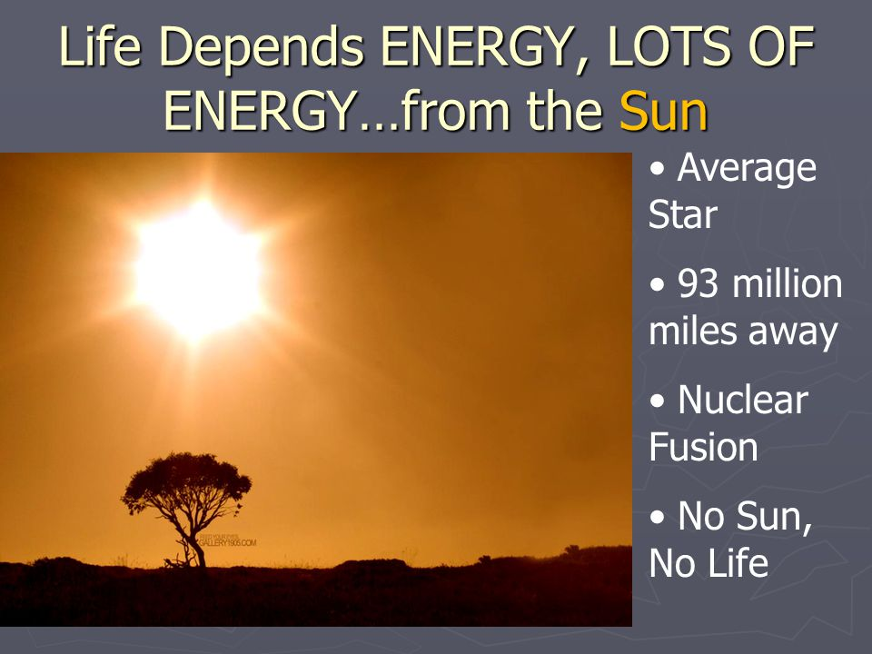 Life Depends ENERGY, LOTS OF ENERGY…from the Sun