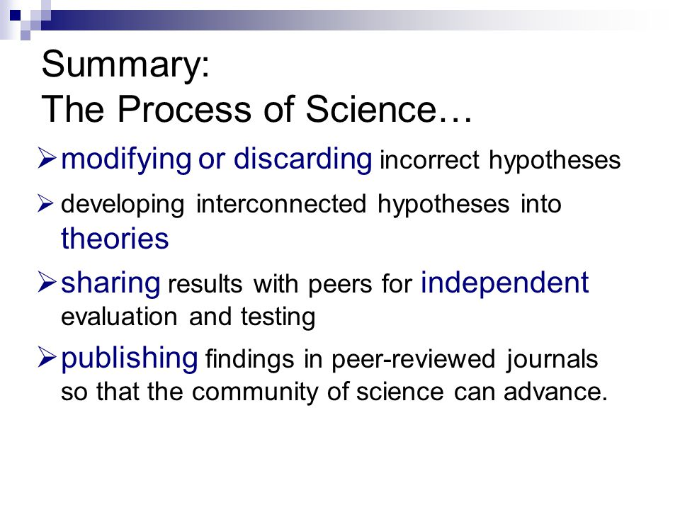 Summary: The Process of Science…