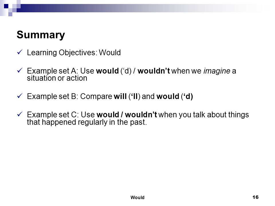 Summary Learning Objectives: Would