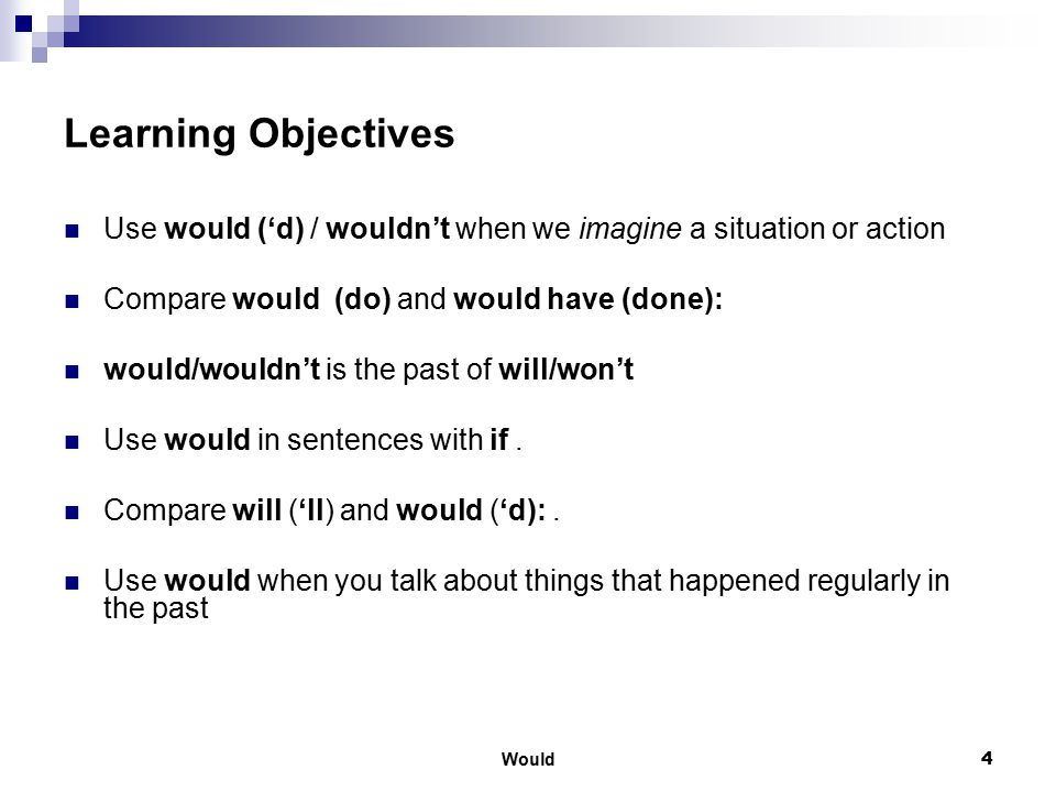 Learning Objectives Use would ('d) / wouldn't when we imagine a situation or action. Compare would (do) and would have (done):