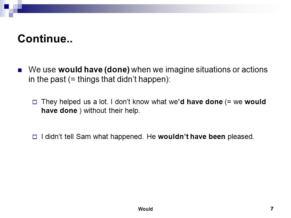 Continue.. We use would have (done) when we imagine situations or actions in the past (= things that didn't happen):