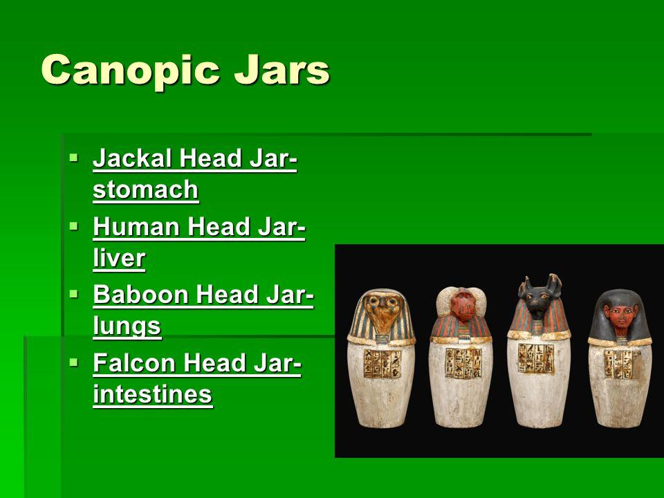 Canopic Jars Jackal Head Jar-stomach Human Head Jar-liver