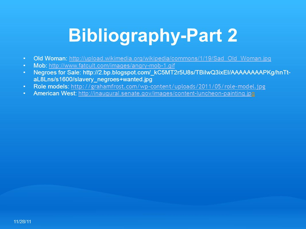 Bibliography-Part 2 Old Woman: