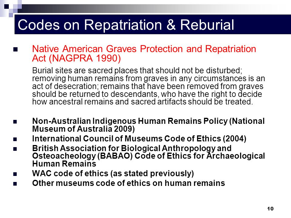 Codes on Repatriation & Reburial