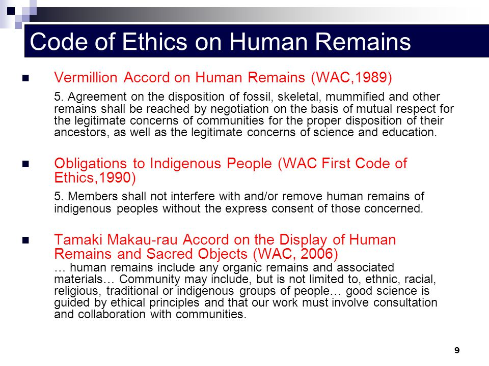 Code of Ethics on Human Remains