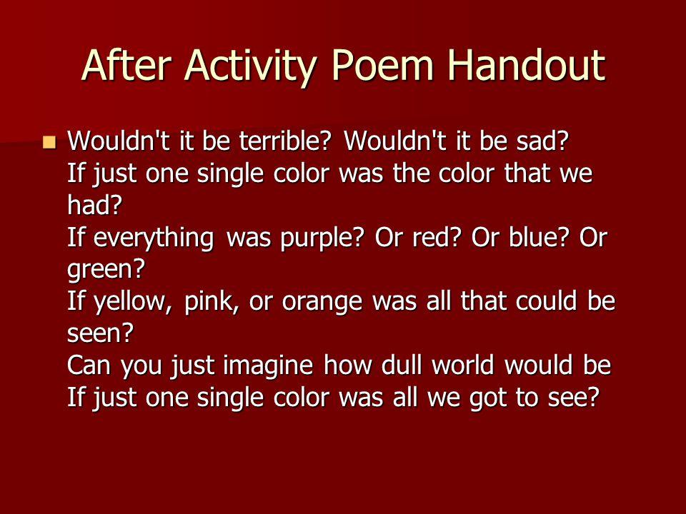 After Activity Poem Handout
