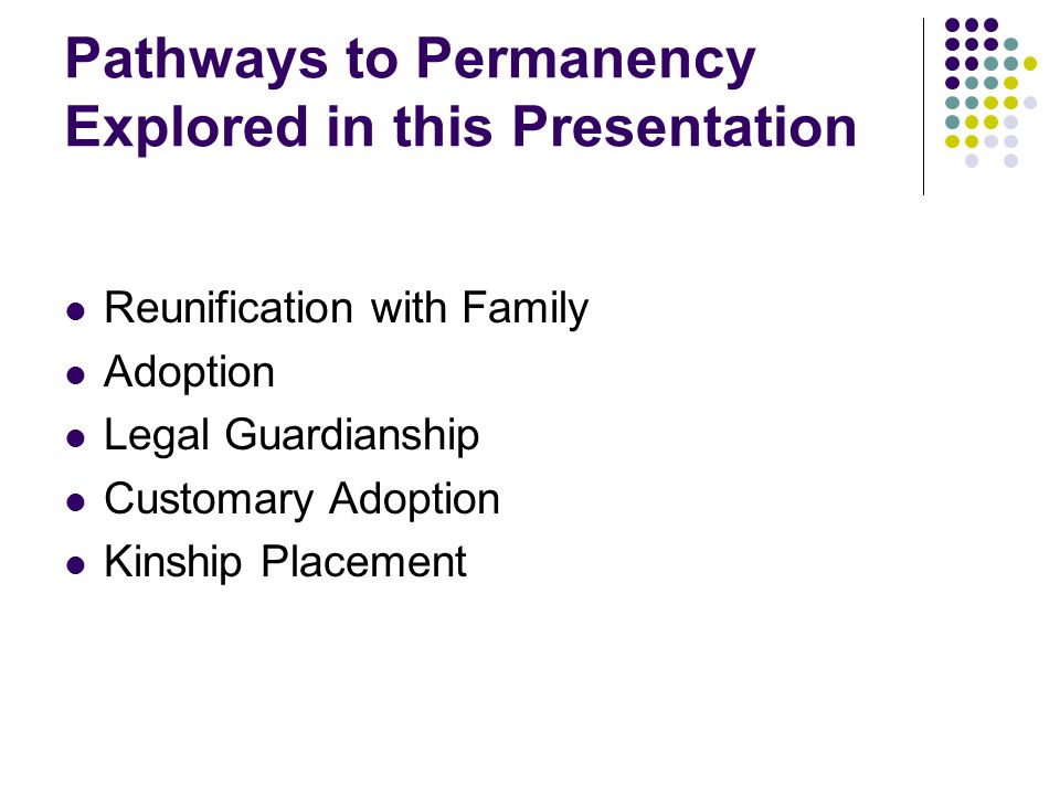 Pathways to Permanency Explored in this Presentation