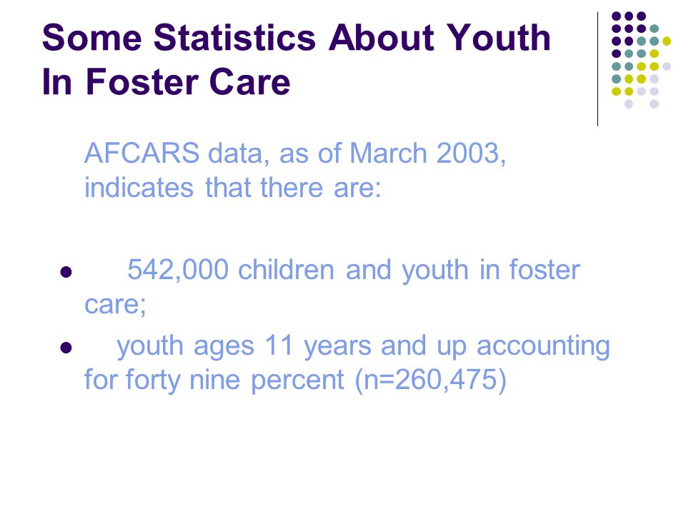 Some Statistics About Youth In Foster Care