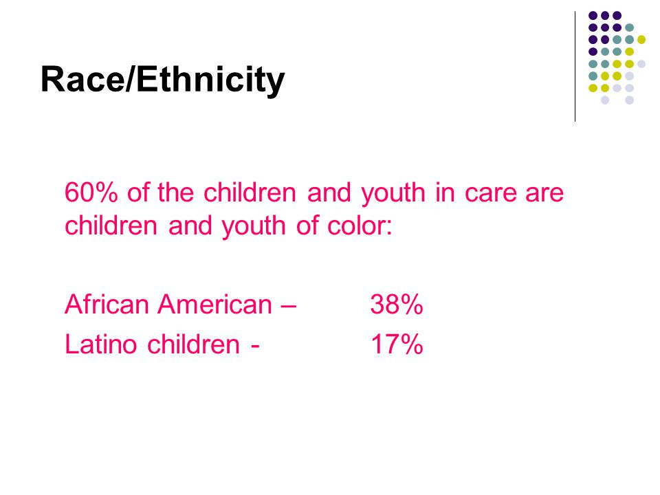 Race/Ethnicity 60% of the children and youth in care are children and youth of color: African American – 38%