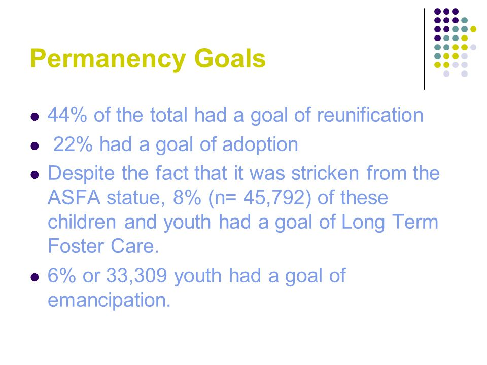 Permanency Goals 44% of the total had a goal of reunification