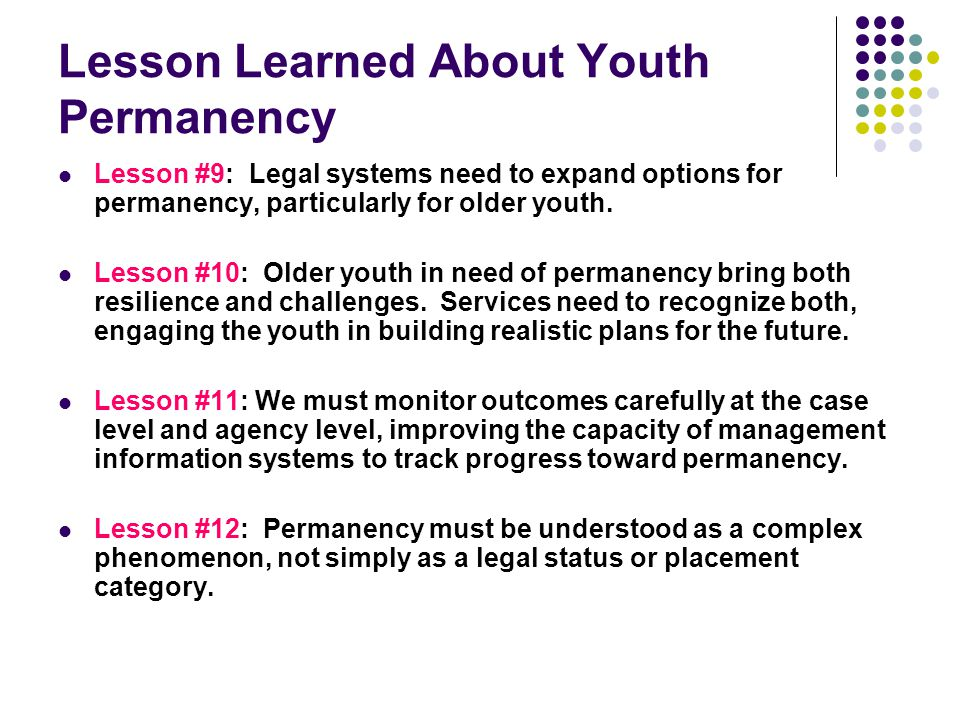 Lesson Learned About Youth Permanency