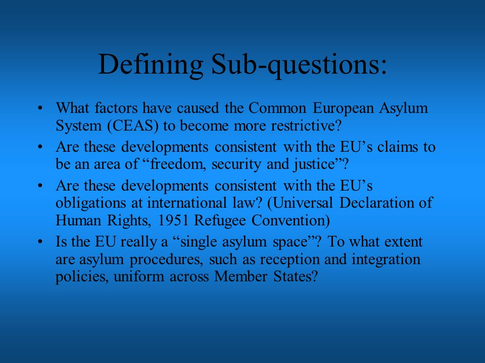Defining Sub-questions: