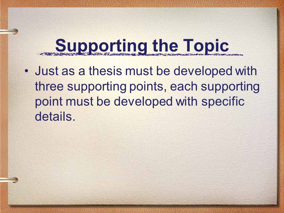 Supporting the Topic Just as a thesis must be developed with three supporting points, each supporting point must be developed with specific details.