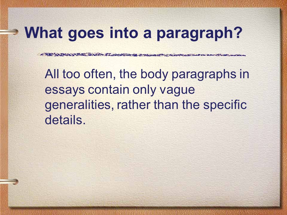 What goes into a paragraph