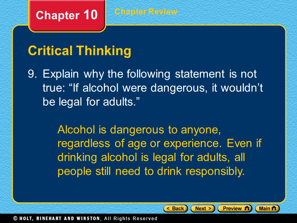 Critical Thinking Chapter 10