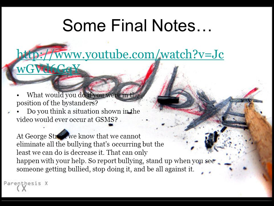 Some Final Notes… http://www.youtube.com/watch v=Jc wGVd6GqY