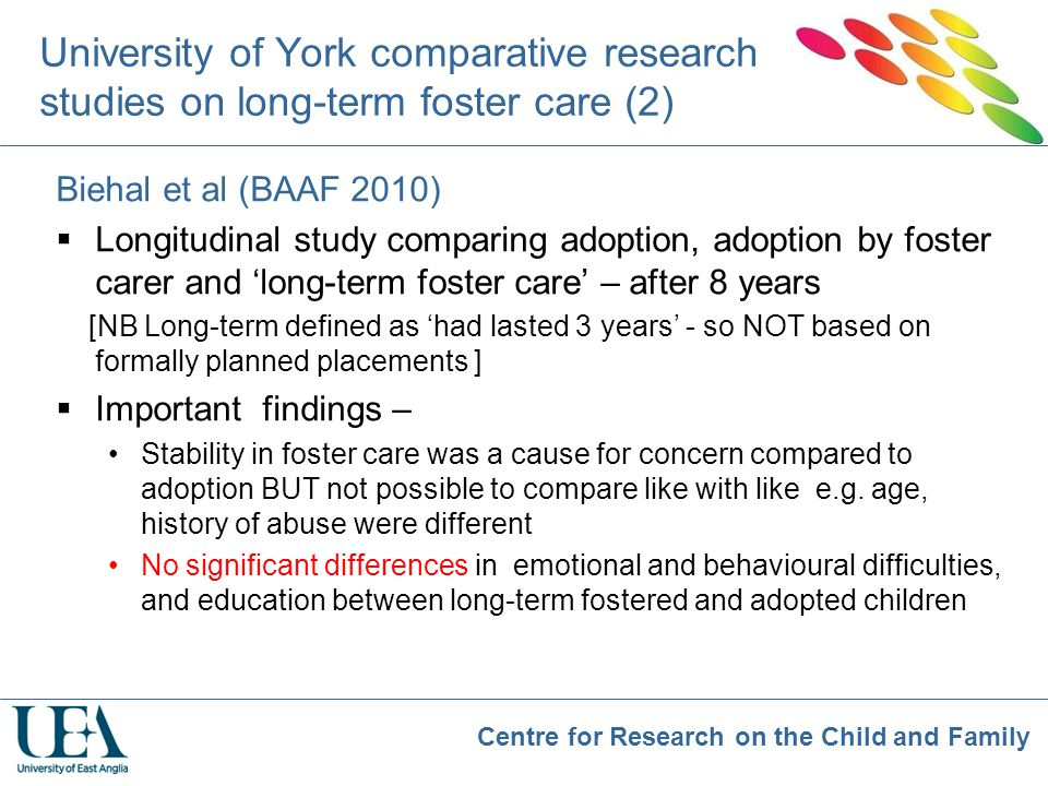 University of York comparative research studies on long-term foster care (2)
