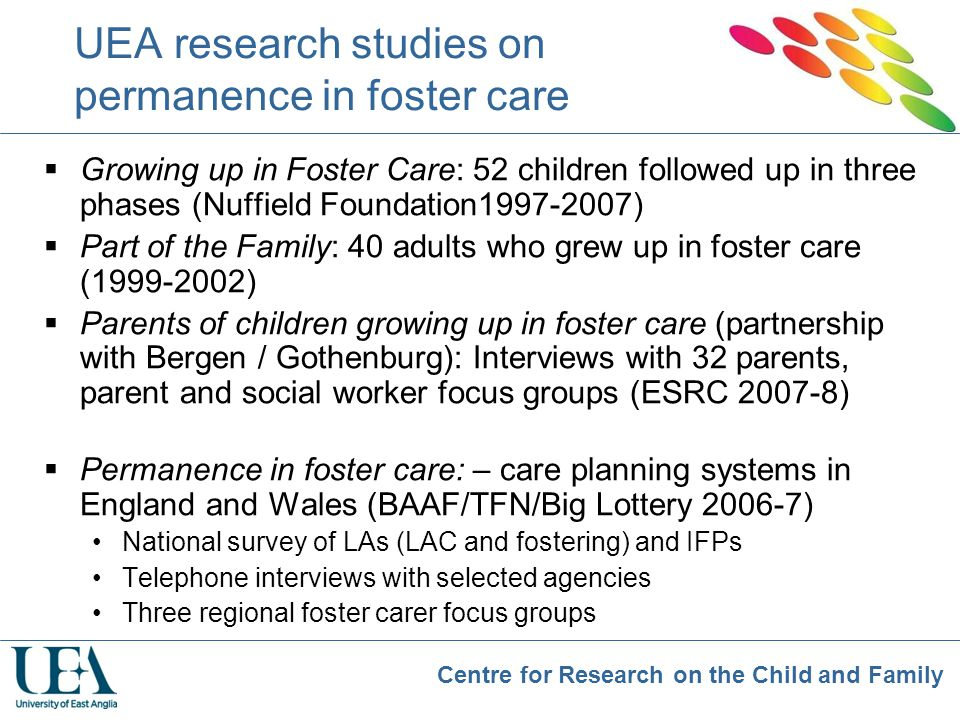 UEA research studies on permanence in foster care