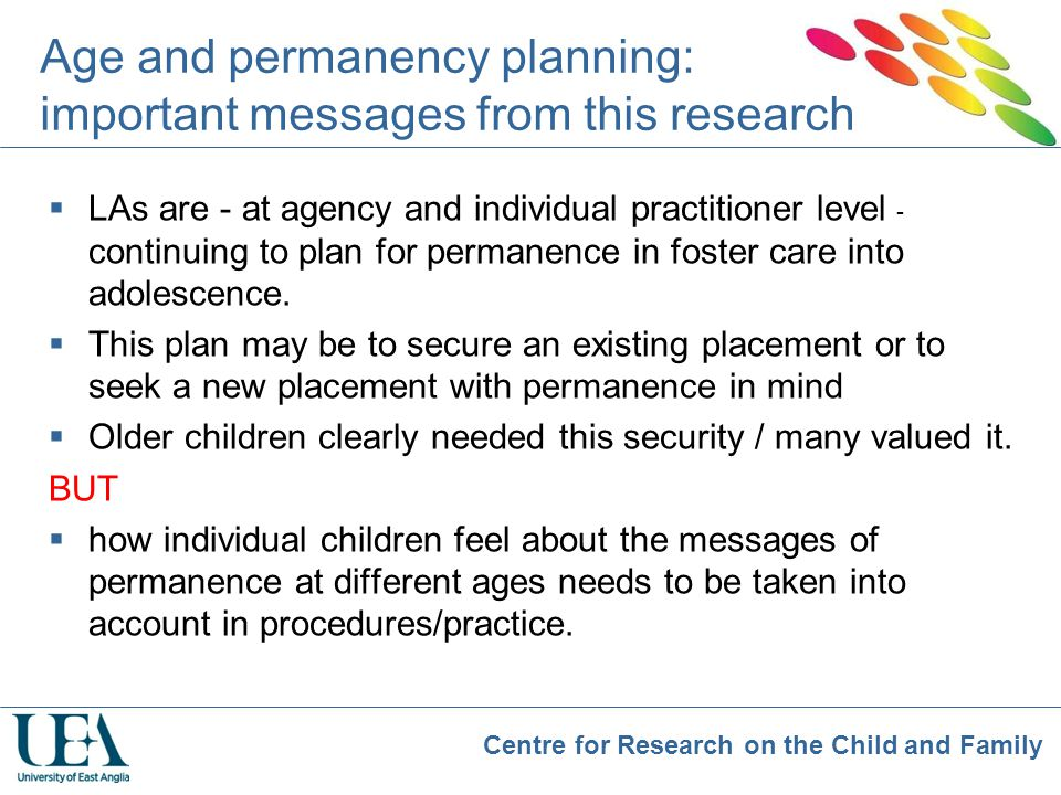 Age and permanency planning: important messages from this research