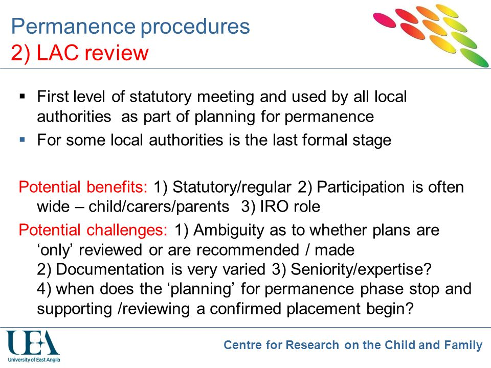 Permanence procedures 2) LAC review