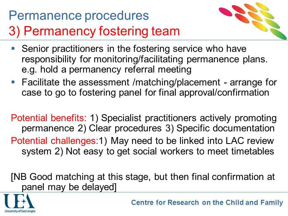 Permanence procedures 3) Permanency fostering team