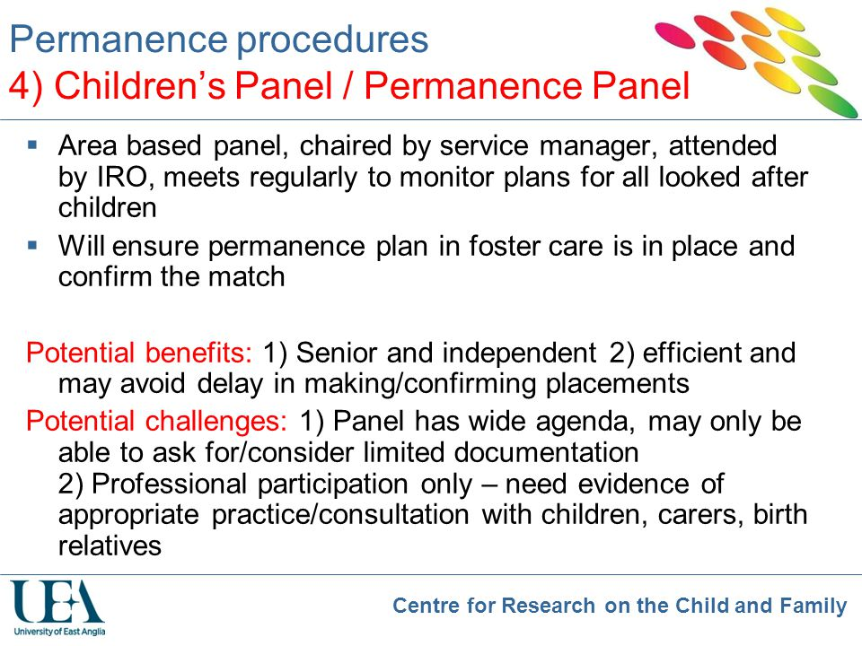 Permanence procedures 4) Children's Panel / Permanence Panel