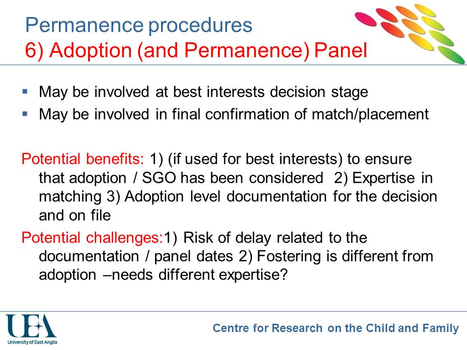 Permanence procedures 6) Adoption (and Permanence) Panel