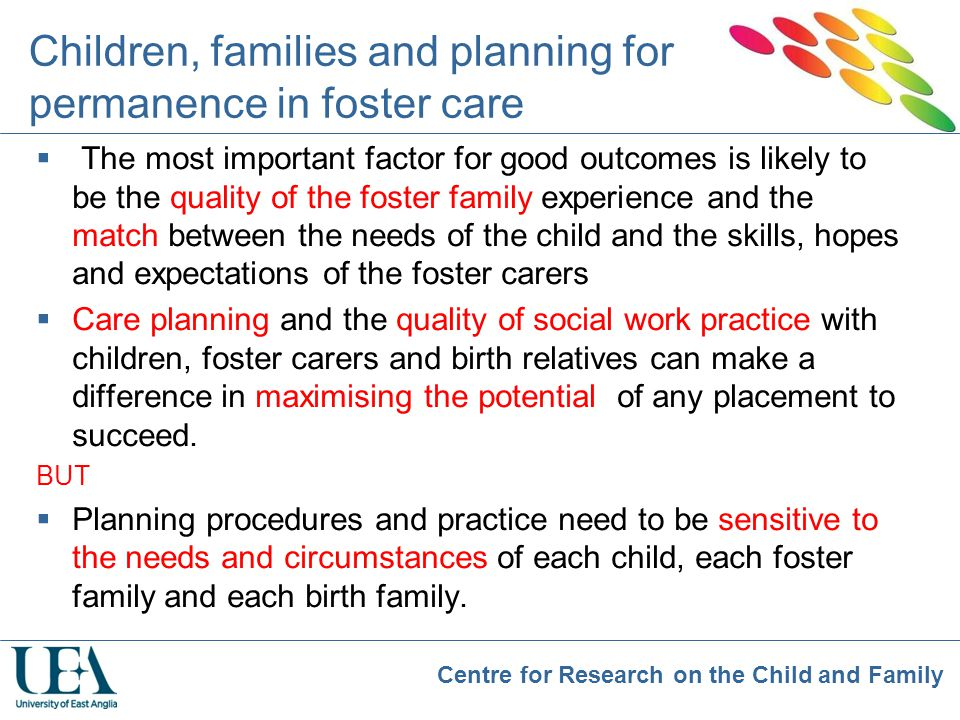 Children, families and planning for permanence in foster care