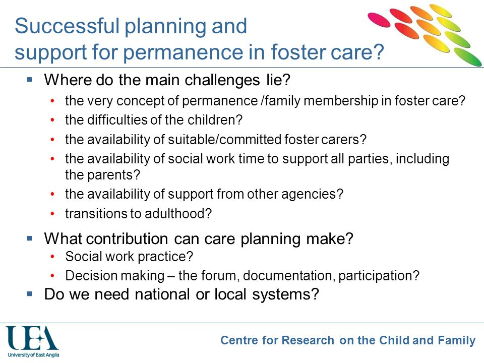 Successful planning and support for permanence in foster care