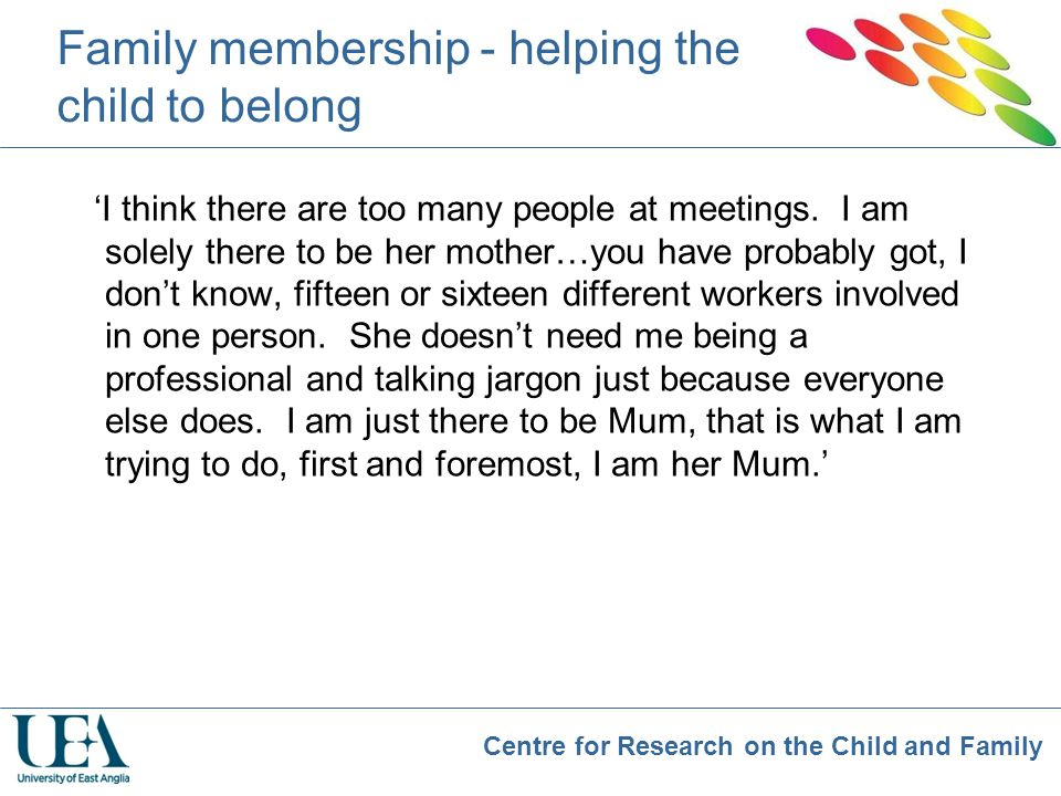 Family membership - helping the child to belong