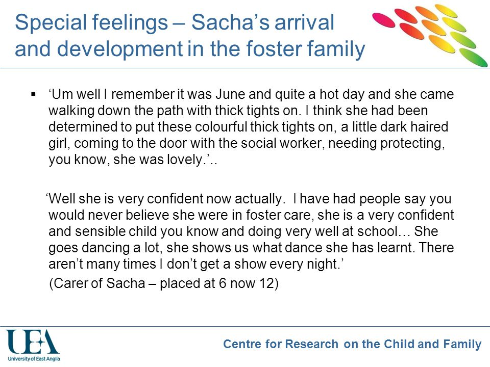 Special feelings – Sacha's arrival and development in the foster family