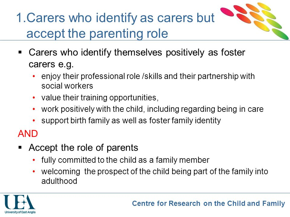 Carers who identify as carers but accept the parenting role