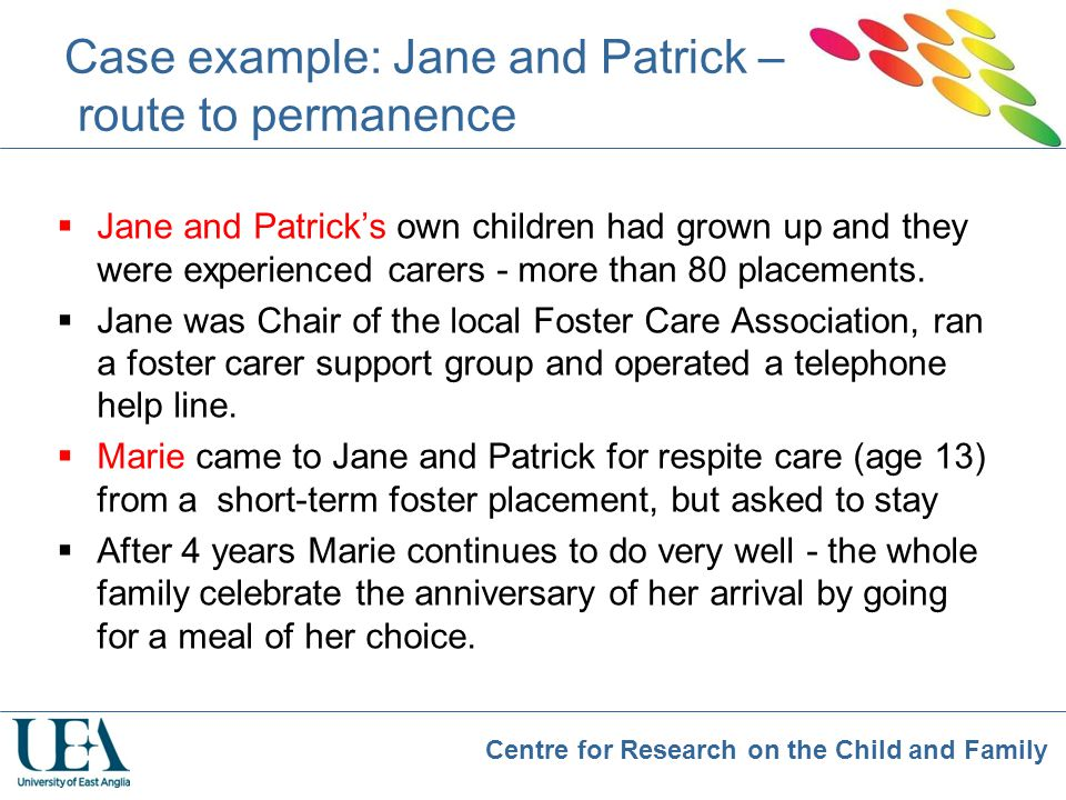 Case example: Jane and Patrick – route to permanence