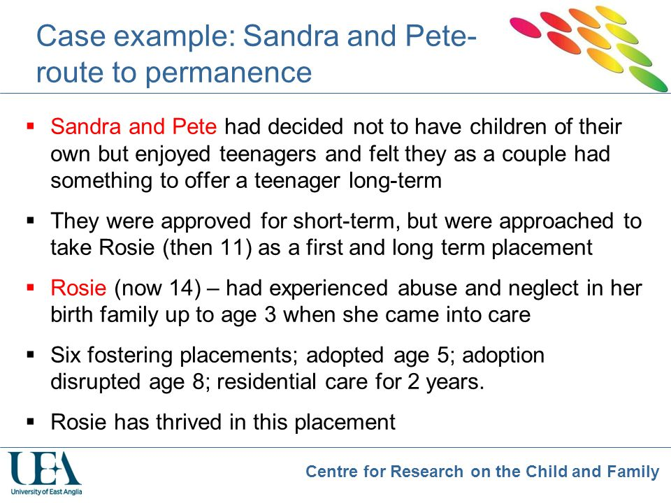 Case example: Sandra and Pete- route to permanence
