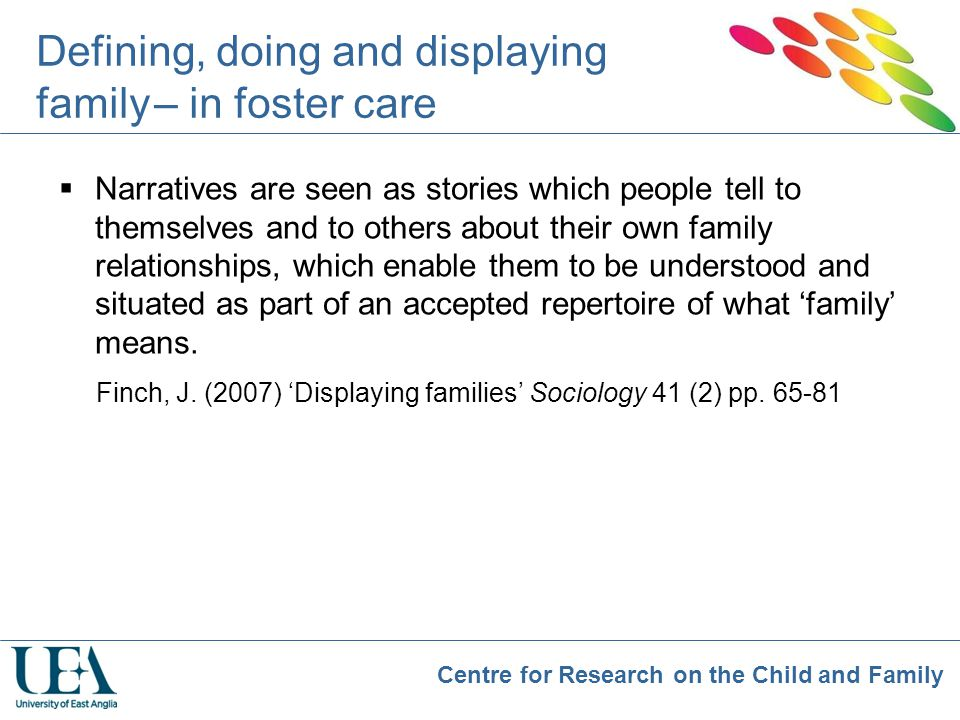 Defining, doing and displaying family – in foster care