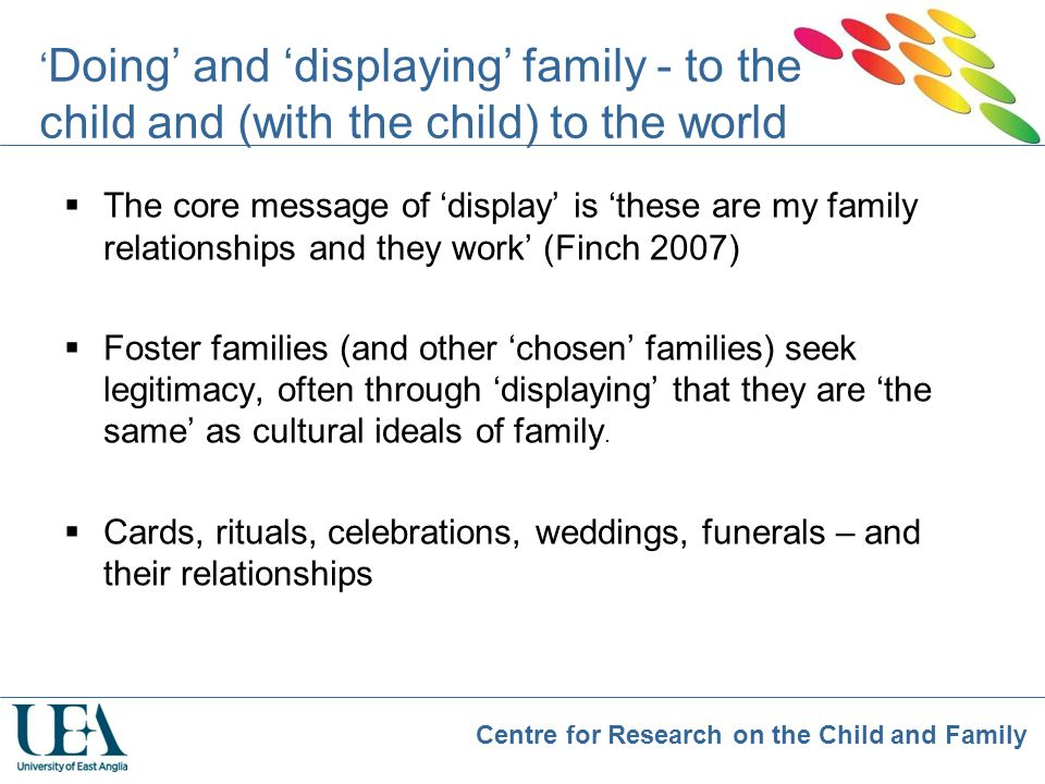 'Doing' and 'displaying' family - to the child and (with the child) to the world