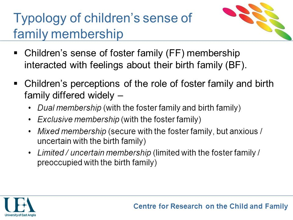Typology of children's sense of family membership