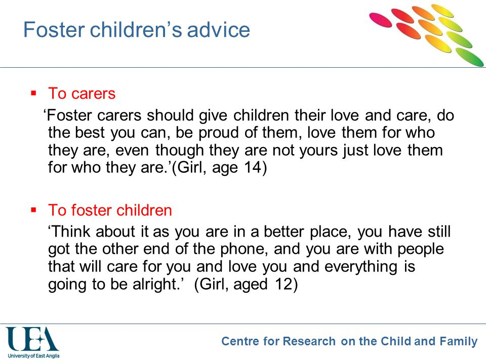 Foster children's advice