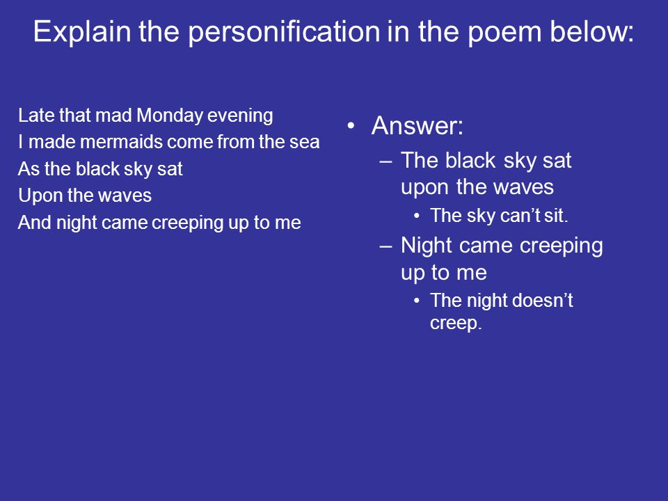 Explain the personification in the poem below: