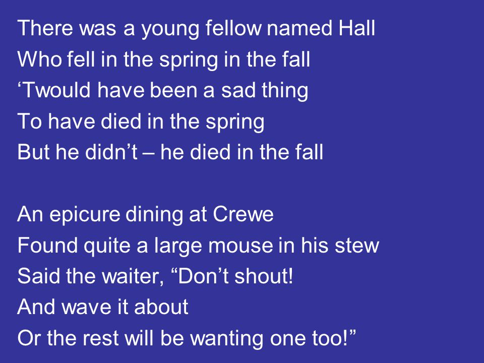 There was a young fellow named Hall