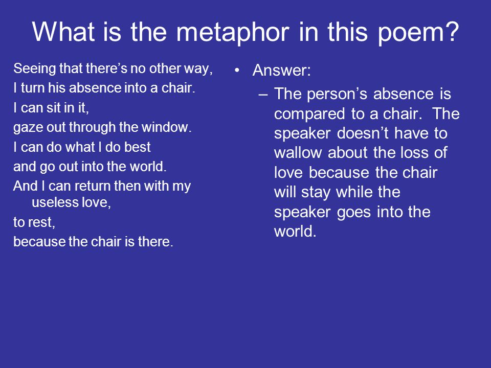 What is the metaphor in this poem