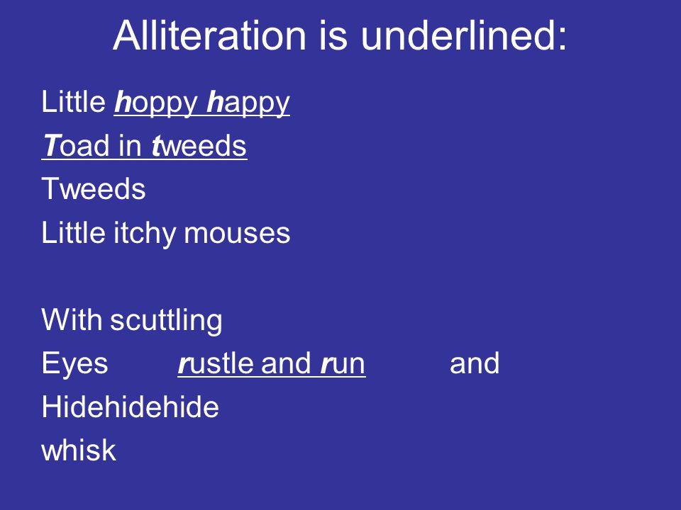 Alliteration is underlined: