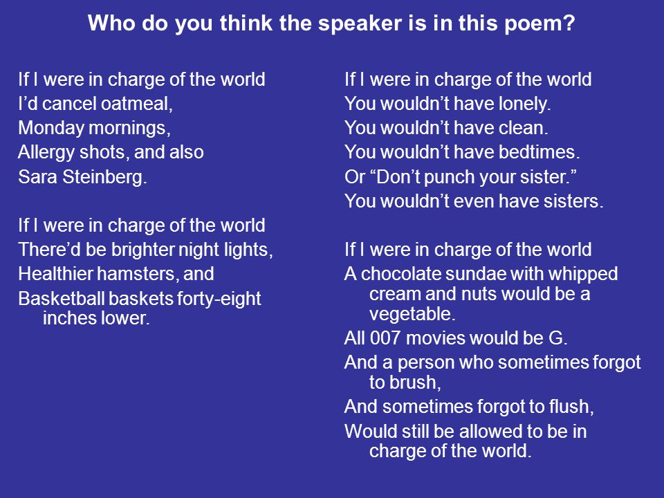 Who do you think the speaker is in this poem