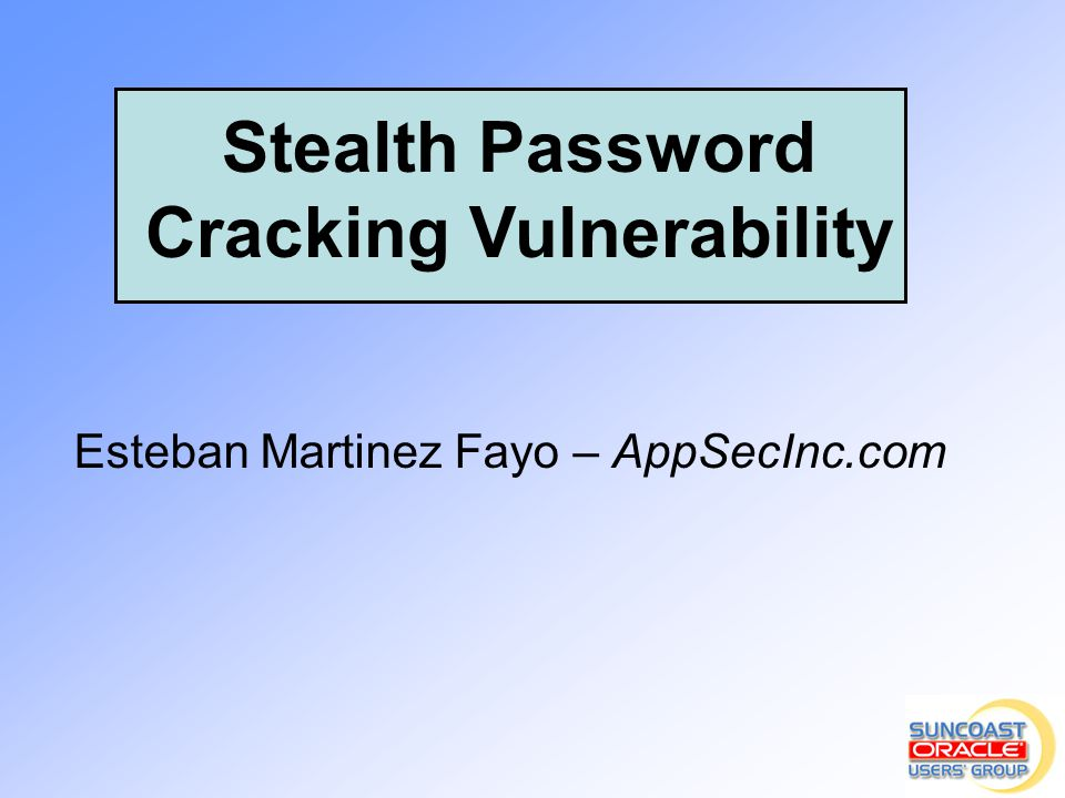 Stealth Password Cracking Vulnerability