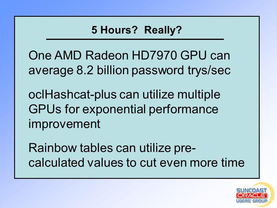 One AMD Radeon HD7970 GPU can average 8.2 billion password trys/sec