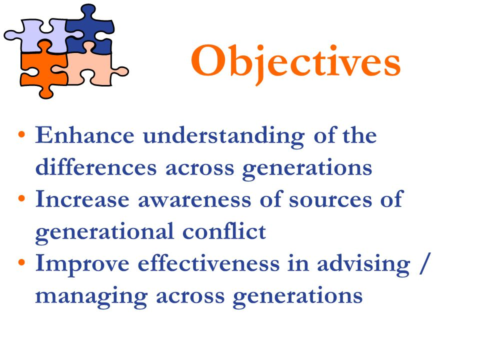 Objectives Enhance understanding of the differences across generations