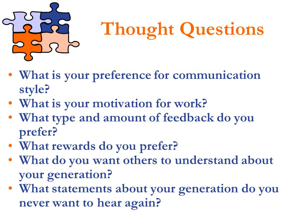 Thought Questions What is your preference for communication style