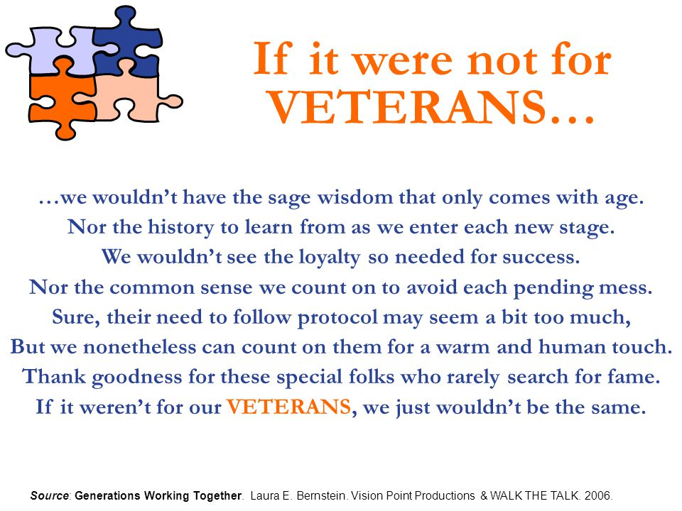If it were not for VETERANS…