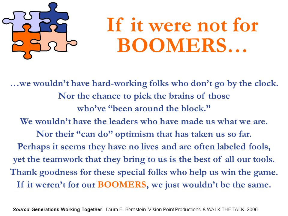 If it were not for BOOMERS…